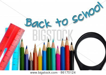 Back To School - Coloring Crayons And Ruler Isolated On White Background