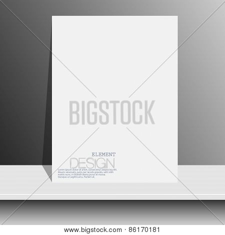 blank white magazines on white shelf with soft shadows and highlights. Vector illustration. EPS10.