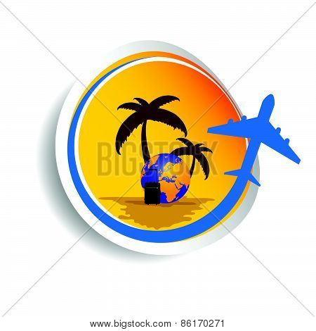 Sticker Travel Color Vector