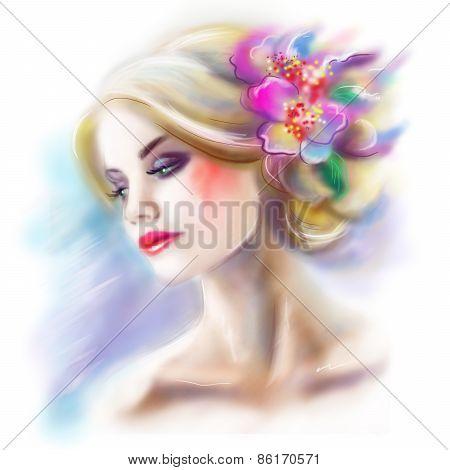 beautiful woman portrait fashion illustration