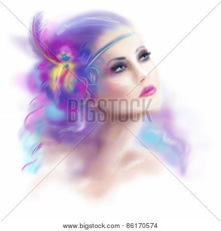 beautiful woman retro portrait fashion illustration