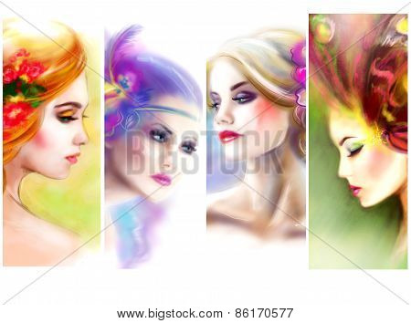 Beautiful Woman face collage. fashion abstract illustration