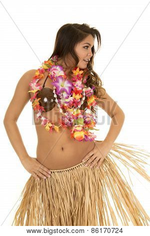 Hawaiian Woman Coconut Bra Grass Skirt Look Side