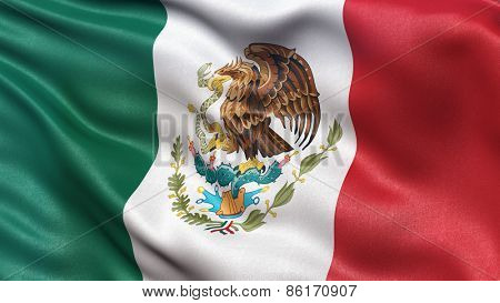 Beautiful flag of Mexico waving in the wind
