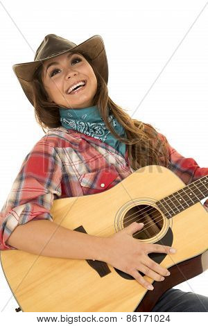 Woman Cowgirl With Guitar Lean Back Laugh