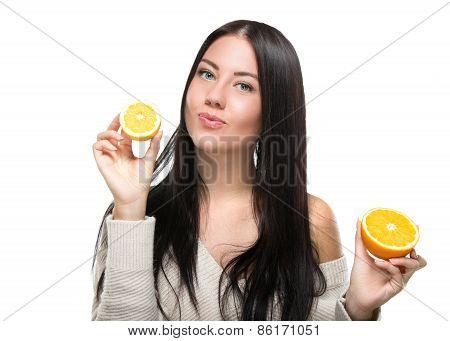 portrait of attractive caucasian woman isolated on white studio shot orange face skin