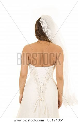 Woman In Wedding Dress Back Look Away