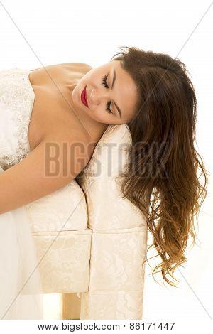 Woman In Wedding Dress Lay Close Eyes Closed
