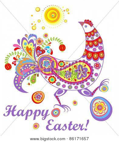 Easter decorative card with funny hen