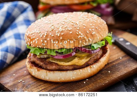 Burger with pork cutlete