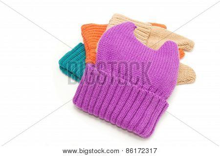 New Fashion Knit Wool Hat On White Background