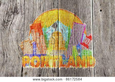 Portland Oregon Skyline Circle Color Wood Background Illustration