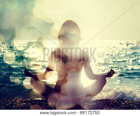Woman Practicing Yoga by the