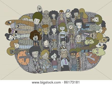 Hipster Doodle People Collage Background