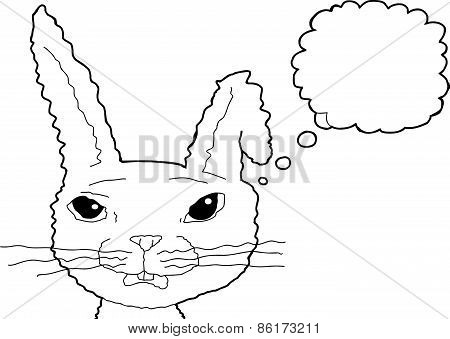 Outlined Surprised Rabbit Thinking