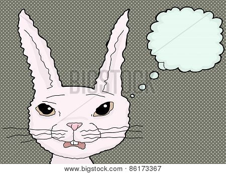 Startled Cartoon Rabbit Thinking
