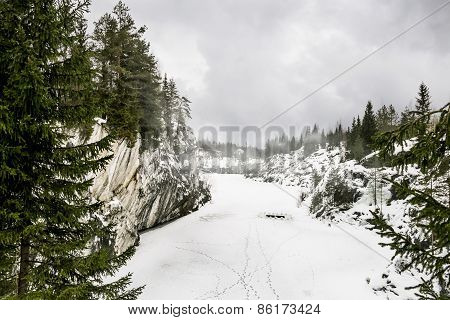 Harsh Northern Misty Landscape. Ruskeala Marble Quarries In Karelia