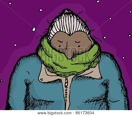 Cold Woman In Green Scarf