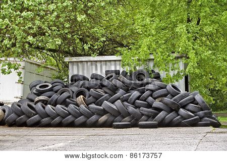 Huge Stack Or Pile Of Old Worn Tires