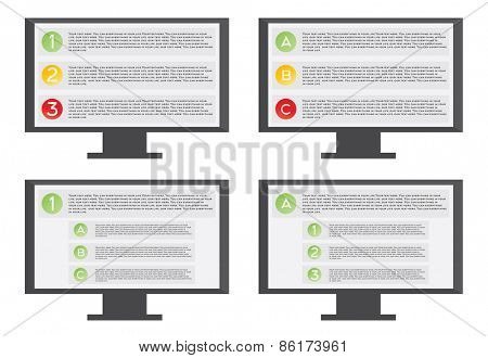 Monitor with list Vector illustration on white background