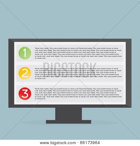 Monitor with list Flat vector illustration on blue background