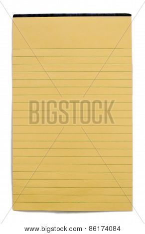 Yellow Blank Ruled Writing Pad