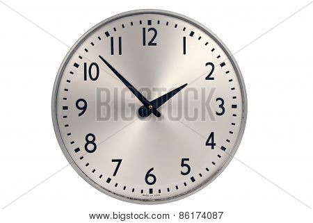 Old Industrial Wall Clock Isolated