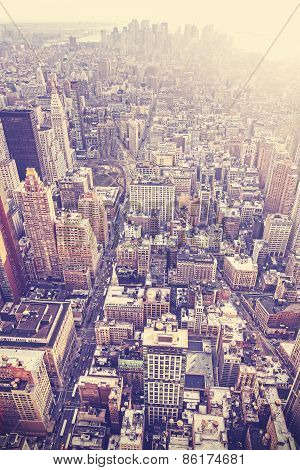Vintage Stylized Aerial Picture Of New York City Downtown, Usa