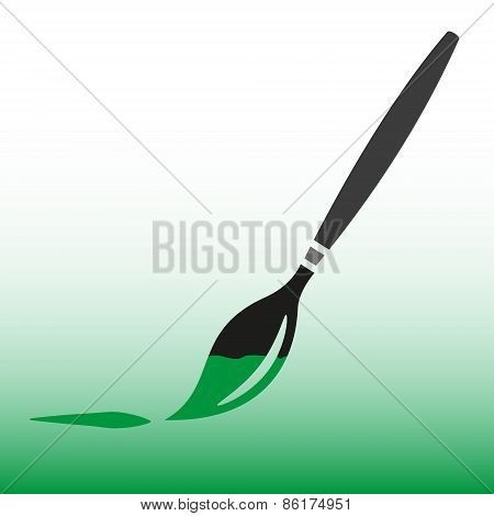 Paint Brush With Green Paint Vector Icon Eps10