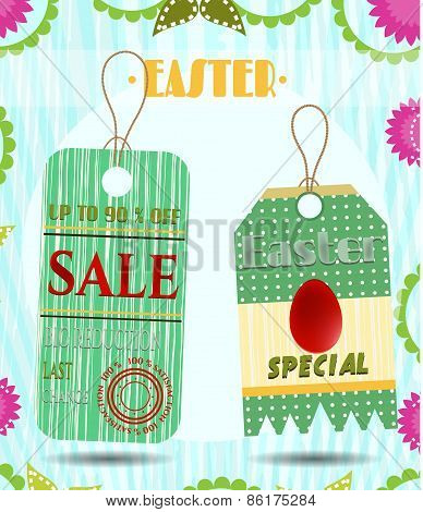 Set, group of spring, easter, beautiful, striped, dotted stickers with text Sale, retro design. Back