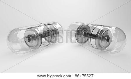 Weight loss pills dumbbells metaphore