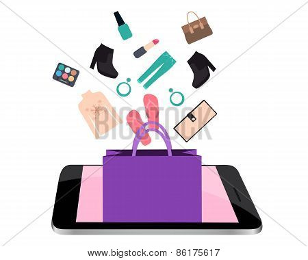 Shopping online. Telephone with the package, clothing and accessories. Vector illustration