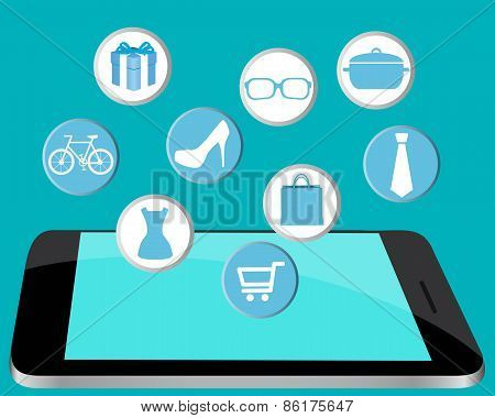 Shopping online through the computer. A computer with a dress, shoes and tie. Vector illustration