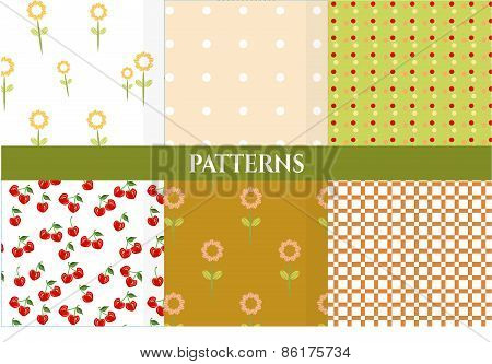 Set of vintage natural, seamless patterns with pink flowers, dot, squares, red cherries, retro desig
