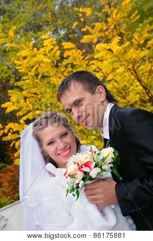 The Groom And The Bride On An Autumn Background