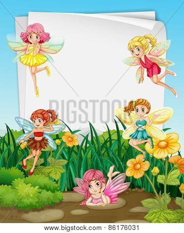 Fairies flying in the garden and blank banner