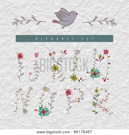 Floral elements of vintage alphabet in vector