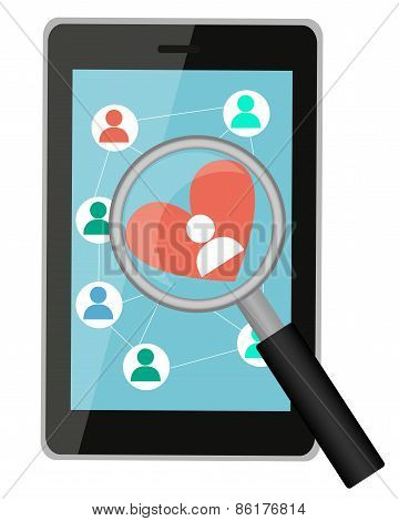 Looking for love online. Tablet with a magnifying glass and heart. Vector illustration