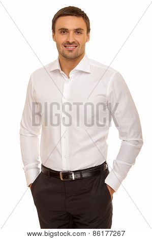 young handsome man smiling isolated over white background. Businessman. Man in shirt