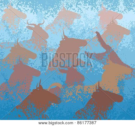 EPS8 editable vector cutout illustration of wildebeest on migration crossing a large river with a crocodile