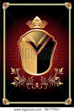 Heraldic Shield Ornate Golden Ornament