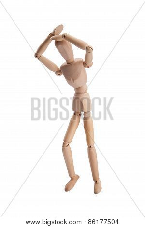 Wooden puppet pose, mannequin isolated on white background