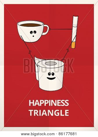 Happiness Fit Triangle Funny Illustration