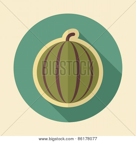 Watermelon Retro Flat Icon With Long Shadow