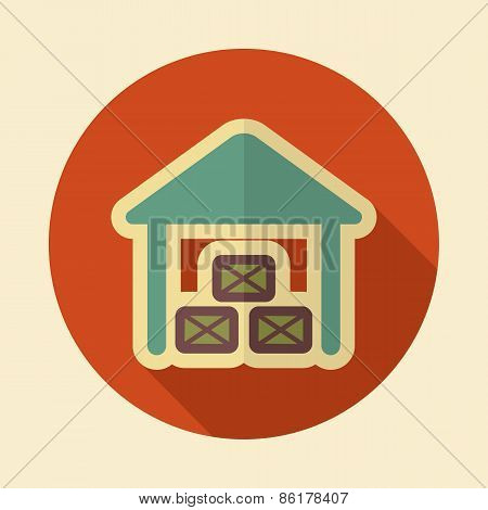 Shed Retro Flat Icon With Long Shadow