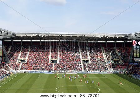 German soccer league match Mainz against Wolfsburg