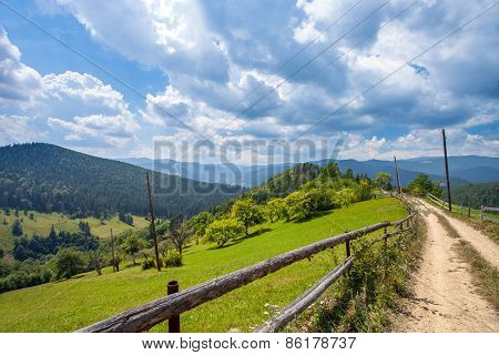 road to the mountians with blue sky