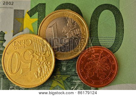 Coins against to 100 euro bill