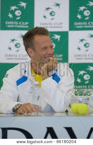 DNEPROPETROVSK, UKRAINE - APRIL 4, 2013: Robert Lindstedt, Sweden on press conference before Davis Cup match Ukraine vs Sweden. Ukraine won the match 3-2