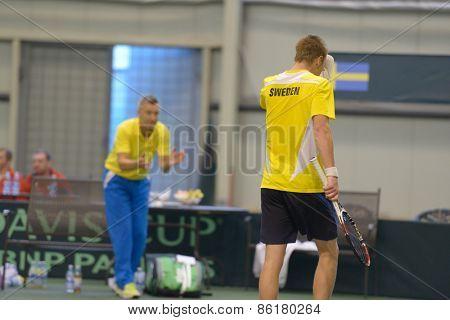 DNEPROPETROVSK, UKRAINE - APRIL 5, 2013: Markus Eriksson, Sweden in the Davis Cup match Ukraine vs Sweden. Ukraine won the match 3-2